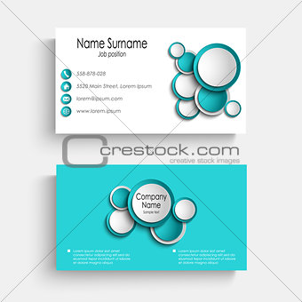 Business card with blue abstract circles template