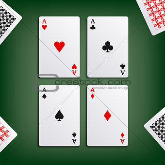 Four aces for poker game
