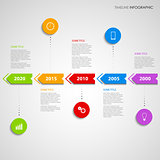 Time line info graphic with colored arrows design template