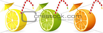 Citrus fruit cut in half with straw