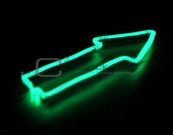 3d render arrow neon sign isolated on black background