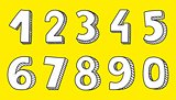 White numbers vector isolated on yellow background