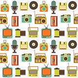 Vector Seamless Pattern with Retro technology