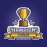 Champion sports league logo emblem badge graphic with trophy