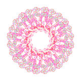 circular pattern of green pink on a white. vector illustration