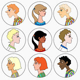 male and female faces in profile icons. vector illustration