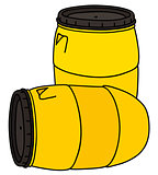 Yellow plastic barrels