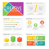 Vector template for multipurpose presentation slides with graphs and charts. Infographic elements, chart, graph, brochures