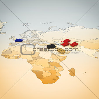 3D rendering of Geography of war