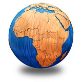 Africa on wooden Earth