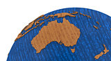 Australia on wooden Earth