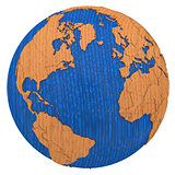 North America and Europe on wooden Earth