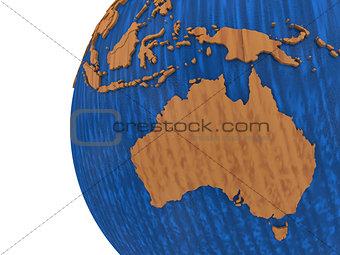 Australia on wooden Earth