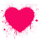 grunge heart on white background