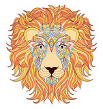 lion on white background.