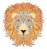 lion on white background.