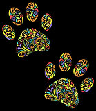 floral animal paw print on black background
