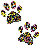 animal paw print on white background