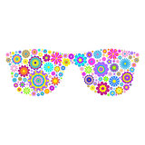 floral eyeglasses on white background