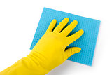 hand in rubber glove with blue sponge isolated on white
