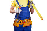 construction worker with belt and tools in hands on white