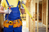 construction worker on new house building process with copy spac