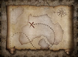 pirates treasure map scroll over another old one