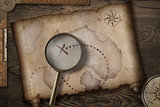 treasure map on wooden desk with compass 3d illustration