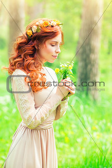 Beautiful woman in a forest