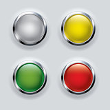 button set with metallic elements on gray background