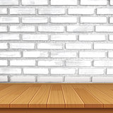 vector wood table top on brick wall background