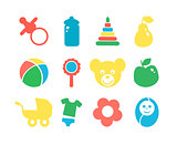 Set of baby objects colorful icon.
