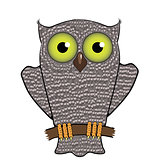 Cartoon Owl  Isolated on White Background.