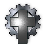 christian cross and gear wheel - 3d rendering