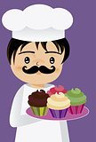 chef with cupcakes