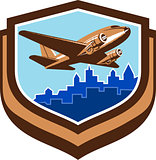Vintage Airplane Take Off Cityscape Shield Retro