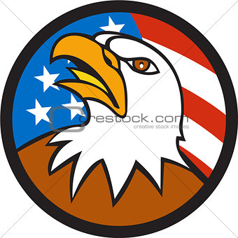 American Bald Eagle Head Looking Up Flag Circle Cartoon