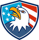 American Bald Eagle Head Looking Up Flag Crest Cartoon