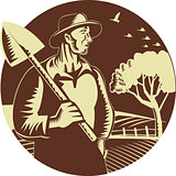 Organic Farmer Holding Shovel Farm Circle Woodcut