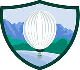 Hot Air Ballooning Sea Tree Mountains Crest Retro