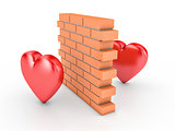 Wall and two hearts