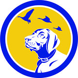 English Pointer Dog Head Looking Up Circle Retro