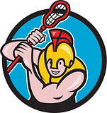Gladiator Lacrosse Player Stick Circle Cartoon