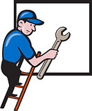 Handyman Climbing Ladder Window Cartoon