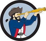 Pirate Looking Spyglass  Circle Cartoon