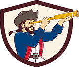 Pirate Looking Spyglass Crest Cartoon