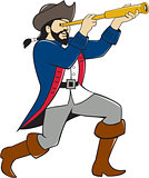 Pirate Looking Spyglass Isolated Cartoon