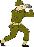 World War Two American Soldier Binoculars Cartoon