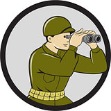 World War Two American Soldier Binoculars Circle Cartoon