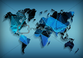 Abstract telecommunication world map with triangle, lines and dots